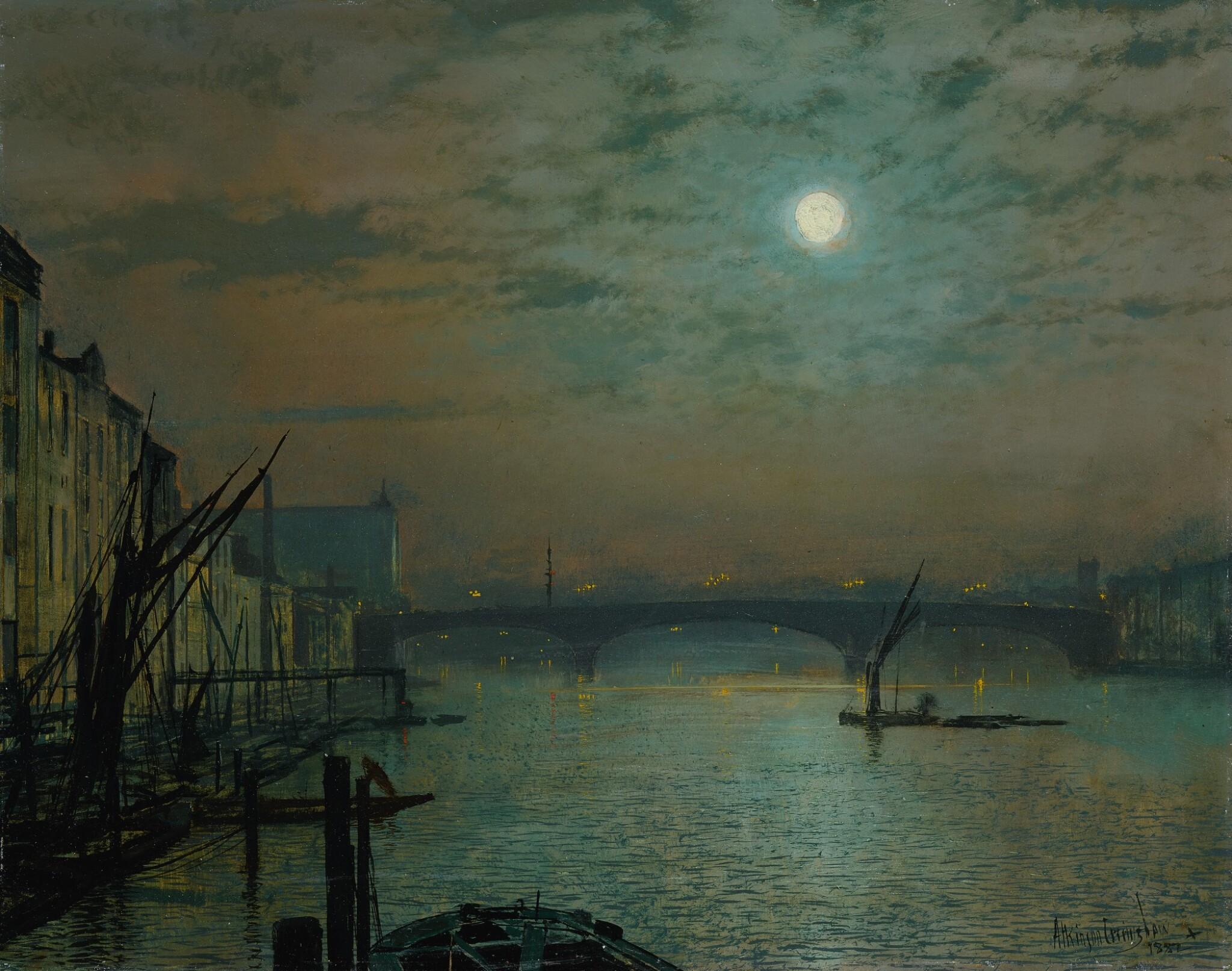 View full screen - View 1 of Lot 680. Southwark Bridge by Moonlight.