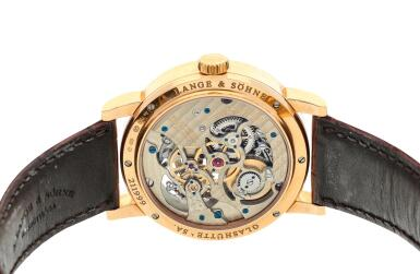 View 5. Thumbnail of Lot 295. Reference 760.032F Richard Lange Tourbillon pour le Mérite  A pink gold tourbillon wristwatch with chain and fusée and regulator dial, Circa 2014.