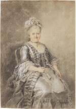 Seated lady in elegant attire, holding a fan