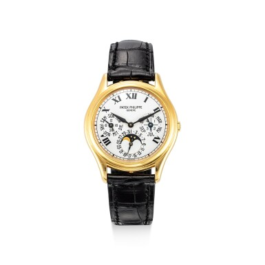 View 1. Thumbnail of Lot 4001. PATEK PHILIPPE | REFERENCE 3940, A YELLOW GOLD PERPETUAL CALENDAR WRISTWATCH WITH MOON PHASES, 24 HOURS AND LEAP YEAR INDICATION, CIRCA 2005.