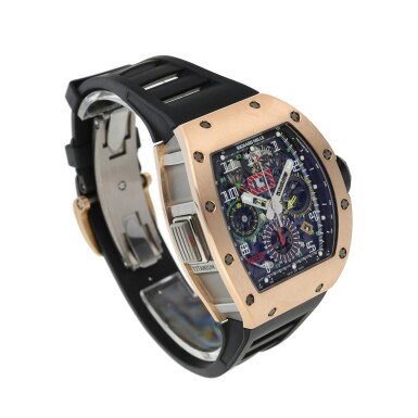 View 2. Thumbnail of Lot 6. RICHARD MILLE | RM11-02 RG   A TITANIUM AND PINK GOLD AUTOMATIC SEMI-SKELETONIZED DUAL TIME, FLYBACK CHRONOGRAPH WRISTWATCH WITH MONTH AND DATE, CIRCA 2012.