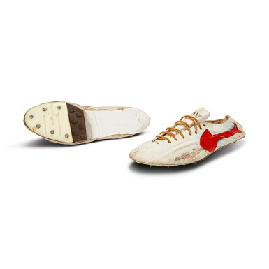 View 6. Thumbnail of Lot 8. Bill Bowerman (Nike Co-Founder) Handmade Prototype Logo Track Spikes With Waffle Sole.