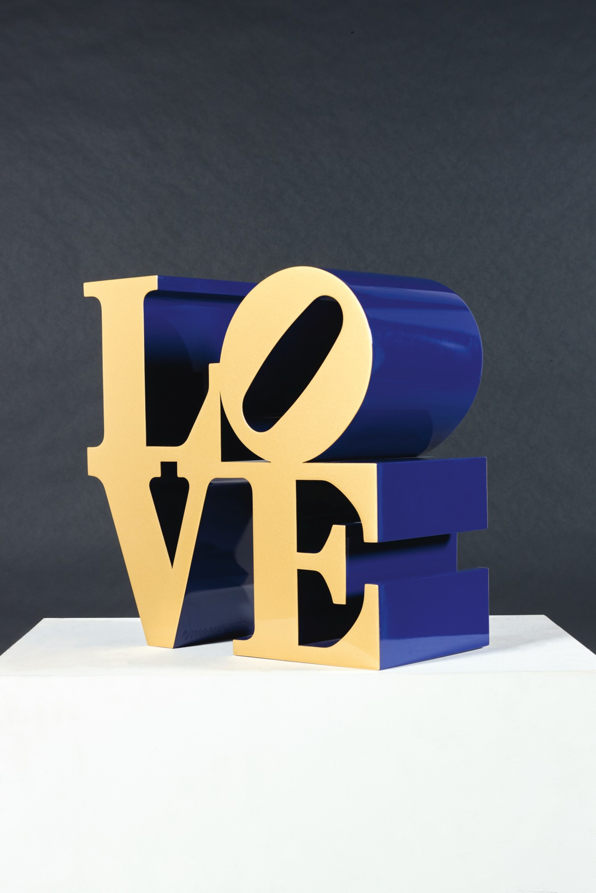 View full screen - View 1 of Lot 33. ROBERT INDIANA  |  LOVE (GOLD FACES - BLUE SIDES).