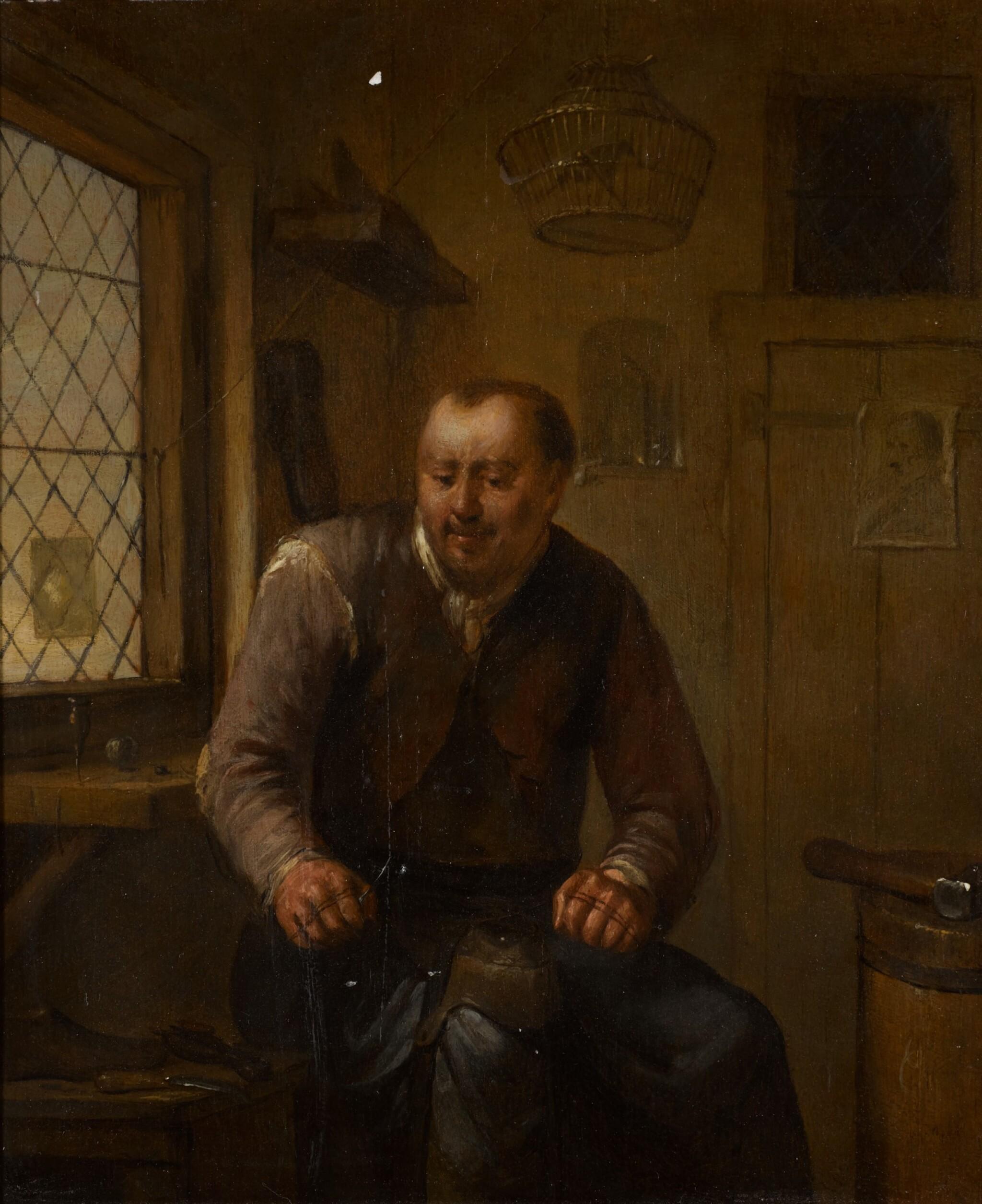 View full screen - View 1 of Lot 72. EGBERT VAN HEEMSKERCK THE ELDER | A cobbler at his workbench.