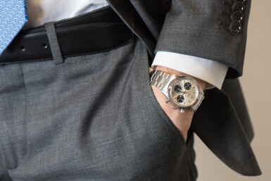 View 4. Thumbnail of Lot 5. ROLEX | 'SMALL' DAYTONA, REF 6239 STAINLESS STEEL CHRONOGRAPH WRISTWATCH WITH BRACELET  CIRCA 1966.