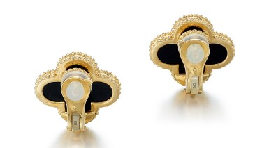 View 3. Thumbnail of Lot 9116. PAIR OF ONYX EAR CLIPS, 'MAGIC ALHAMBRA', VAN CLEEF & ARPELS | 縞瑪瑙耳環一對, Magic  Alhambra', 梵克雅寶(Van Cleef & Arpels).