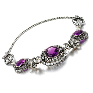 View 2. Thumbnail of Lot 54. Amethyst and diamond necklace, early 19th century.