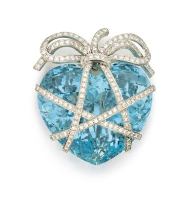 View 1. Thumbnail of Lot 336. AQUAMARINE AND DIAMOND 'WRAPPED HEART' BROOCH, VERDURA .