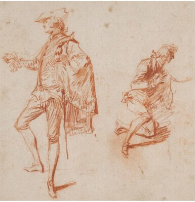 View 1. Thumbnail of Lot 29. JEAN ANTOINE WATTEAU | TWO STUDIES OF ELEGANT MEN, ONE STANDING, THE OTHER KNEELING.