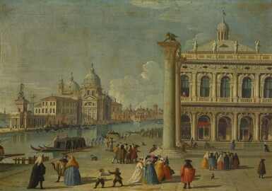 View 3. Thumbnail of Lot 15. FOLLOWER OF LUCA CARLEVARIJS | VENICE, A VIEW OF THE PIAZZETTA; AND VENICE, A VIEW OF THE MOLO .