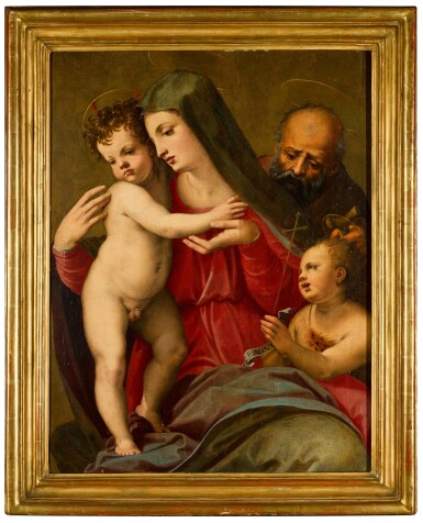 View 3. Thumbnail of Lot 59. MICHELE TOSINI, CALLED MICHELE DI RIDOLFO DEL GHIRLANDAIO  |  THE HOLY FAMILY WITH THE YOUNG SAINT JOHN THE BAPTIST.