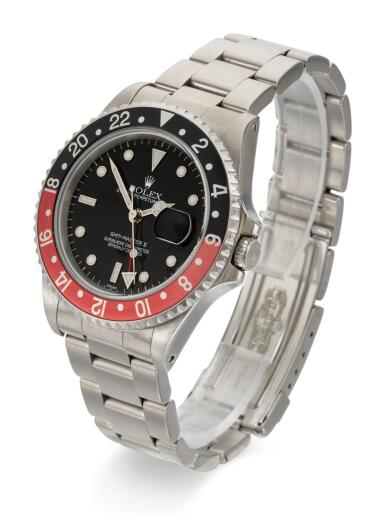 ROLEX | GMT MASTER II, REFERENCE 16710 STAINLESS STEEL DUAL-TIME WRISTWATCH WITH DATE AND BRACELET, CIRCA 1998