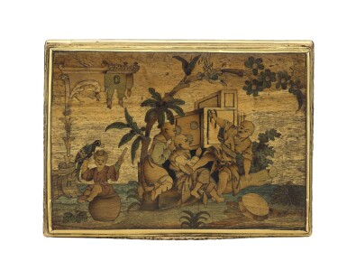 View 2. Thumbnail of Lot 11. A rare marquetry fruitwood snuff box with gold mounts, German, circa 1765.