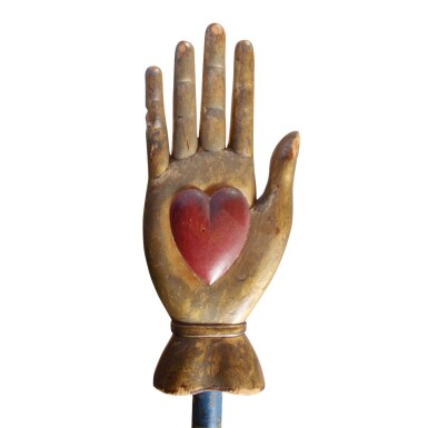 ODD FELLOWS CARVED AND PAINTED WOOD CEREMONIAL HEART-IN-HAND STAFF, CIRCA 1890