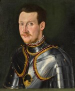 MANTUAN SCHOOL, 16TH CENTURY | PORTRAIT OF A MAN IN ARMOUR, BUST-LENGTH, AGAINST A GREEN BACKGROUND