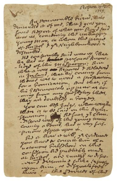 "View 1. Thumbnail of Lot 69. MATHER, COTTON | Autograph letter signed (""Co. Mather""), to the Reverend Samuel Danforth, regarding concerns surrounding Reverend James McSparran, Boston, 29 April 1719."