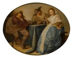 STUDIO OF PIETER CODDE | An interior with two cavalryman and a lady, all seated around a table