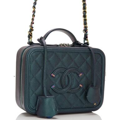 View 2. Thumbnail of Lot 119. Chanel Dark Turquoise Medium Filigree Vanity Case of Grained Metallic Lambskin Leather with Iridescent Hardware.