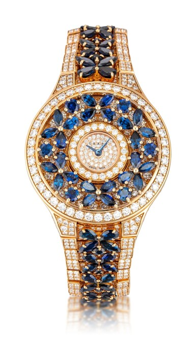 View 1. Thumbnail of Lot 1067. 'Butterfly' Reference BF32PGSDSD, 1 Limited Edition Pink Gold, Blue Sapphire and Diamond-Set Wristwatch | 格拉夫| Butterfly編號BF32PGSDSD 1,限量版粉紅金鑲藍寶石及鑽石腕表,約2010年製.