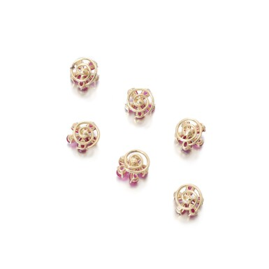 View 3. Thumbnail of Lot 84. Ruby and diamond pin brooches.