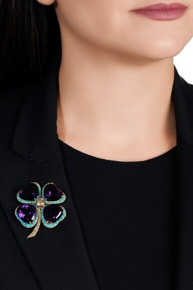 View 4. Thumbnail of Lot 43. Amethyst, turquoise and diamond brooch.