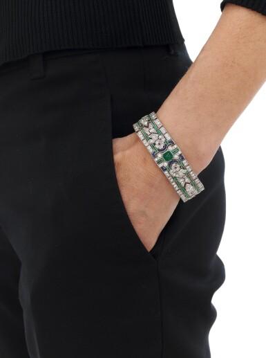 View 5. Thumbnail of Lot 24. Emerald, ruby, sapphire and diamond bracelet (Bracciale in rubini, smeraldi, zaffiri e diamanti).