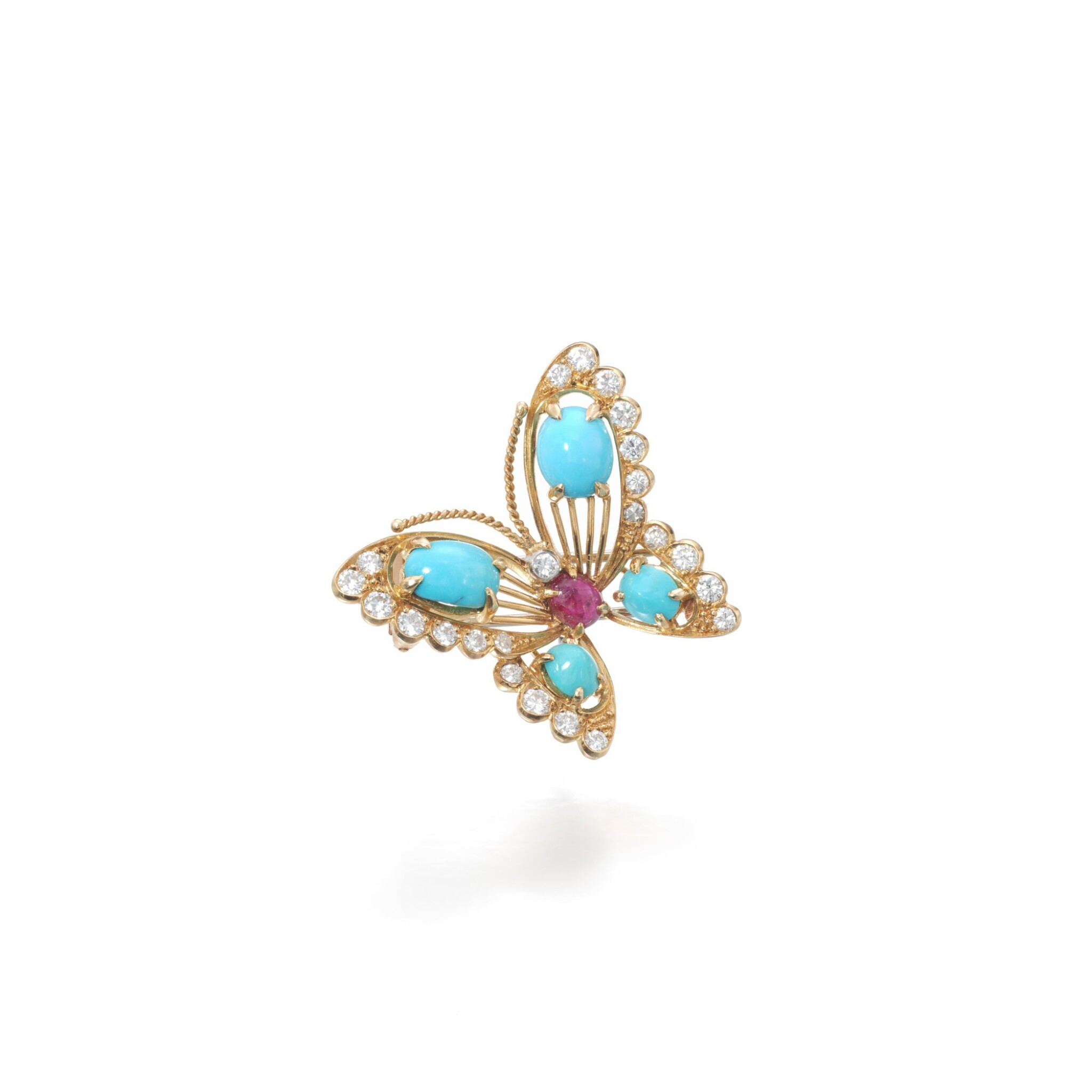 View full screen - View 1 of Lot 16. Turquoise, ruby and diamond brooch.