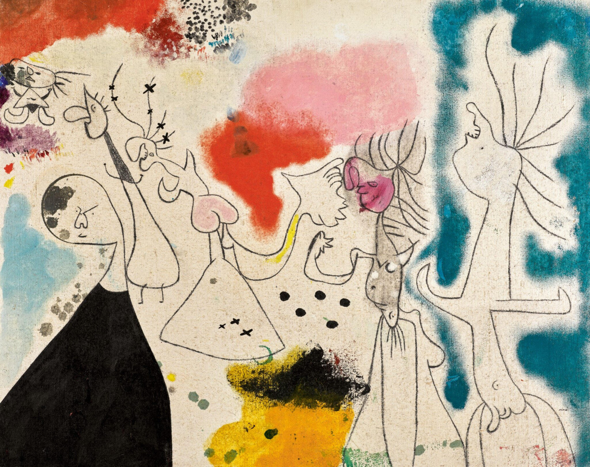 View full screen - View 1 of Lot 1019. JOAN MIRÓ   GROUPE DE PERSONNAGES.