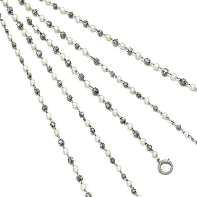 View 2. Thumbnail of Lot 32. Natural pearl and diamond long chain, circa 1900.