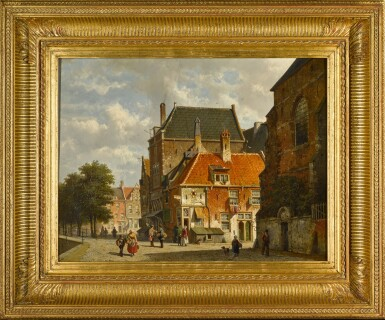 View 2. Thumbnail of Lot 91. Figures on a Sunlit Street.