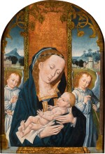 SOUTHERN NETHERLANDISH SCHOOL, LATE 15TH CENTURY | THE VIRGIN AND CHILD SURROUNDED BY ANGELS