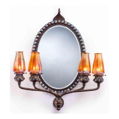 View 1. Thumbnail of Lot 5. A Rare Jeweled Wall Mirror with Four-Light Candelabrum.