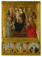 ANDREA DI NICCOLÒ | MADONNA AND CHILD SURROUNDED BY SAINTS ANTHONY ABBOT, FRANCIS, JEROME, AND MARY MAGDALENE, WITH CHRIST AS THE MAN OF SORROWS, SAINT CATHERINE, AND ANOTHER FEMALE SAINT (IRENE?) IN ROUNDELS BELOW