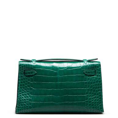 View 5. Thumbnail of Lot 71. Cactus Kelly Pochette in Shiny Alligator Mississippiensis with Gold Hardware, 2012.