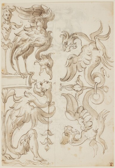 ATTRIBUTED TO ALBERTO ALBERTI | Recto: Two grotesque ornaments with monsters Verso: Head of Medusa and a grotesque ornament