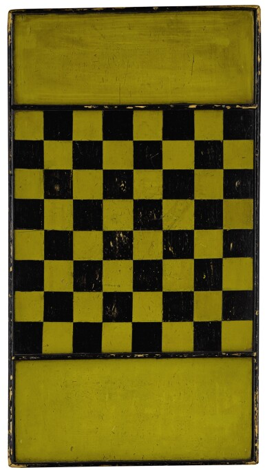 View 1. Thumbnail of Lot 1449. AMERICAN YELLOW AND BLACK PAINTED WOODEN CHECKER GAMEBOARD, LATE 19TH CENTURY.