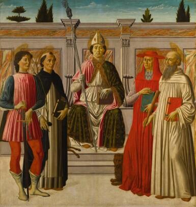View 1. Thumbnail of Lot 6. FRANCESCO BOTTICINI   Saint Nicholas enthroned with Saints Hubert, Dominic, Jerome and Anthony of Padua   弗朗契斯科・波提其尼  《聖尼格老登位,聖胡伯、聖道明、聖傑羅姆與帕多瓦的聖安東尼在旁》.