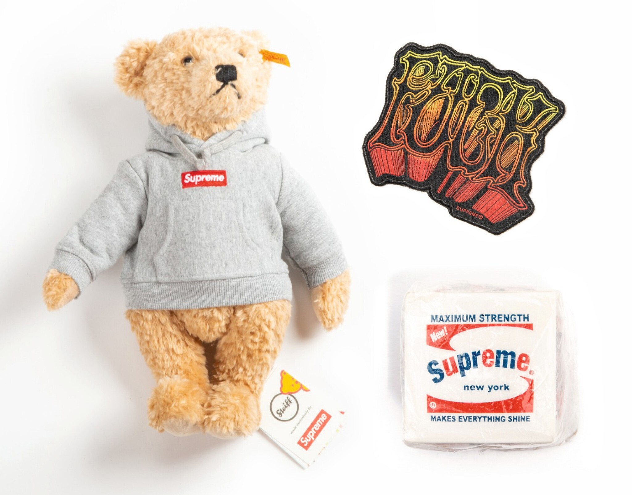 View full screen - View 1 of Lot 41. SUPREME BRILLO PAD, TEDDY BEAR & PATCH [3 PIECES].