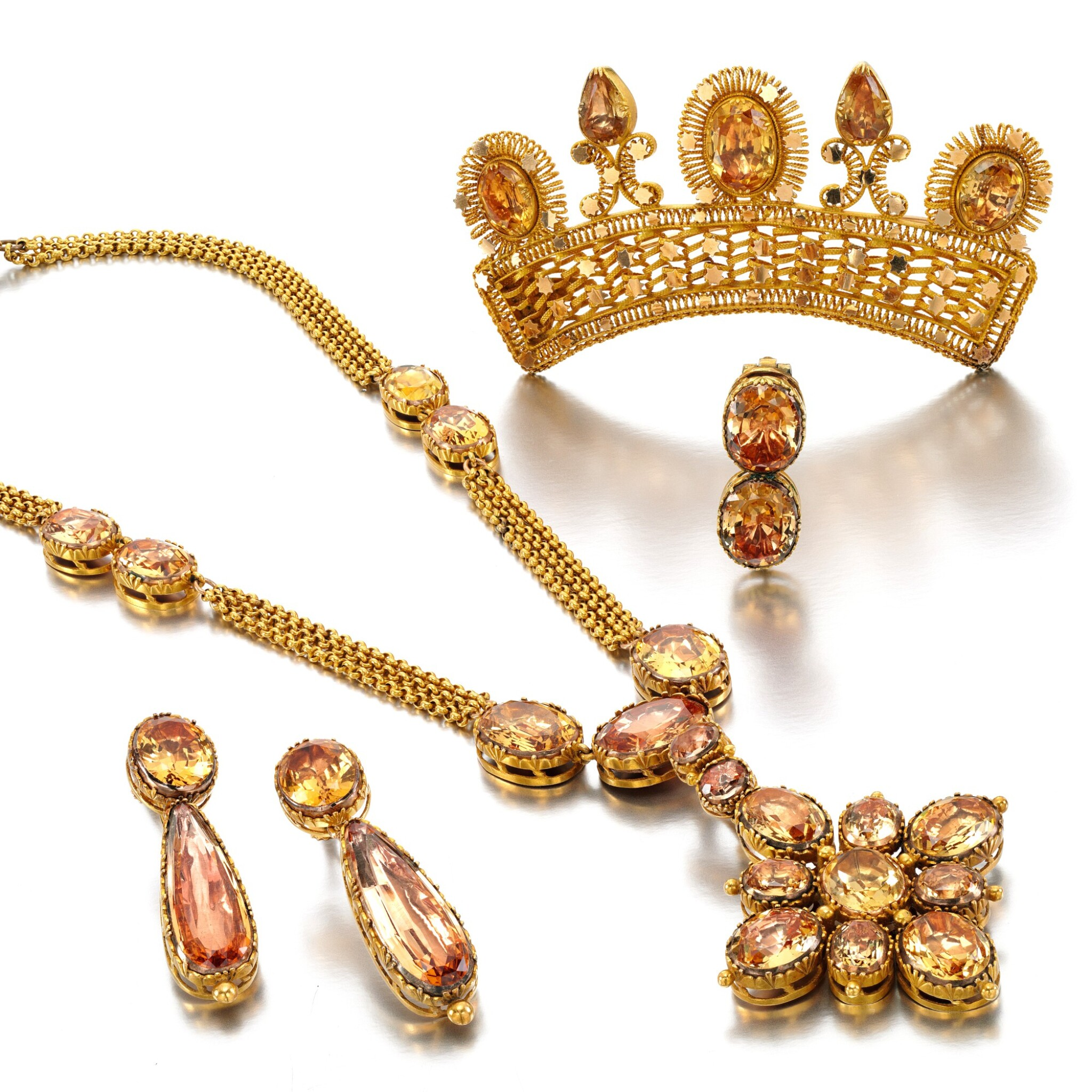 View full screen - View 1 of Lot 30. Topaz parure, 1830s.