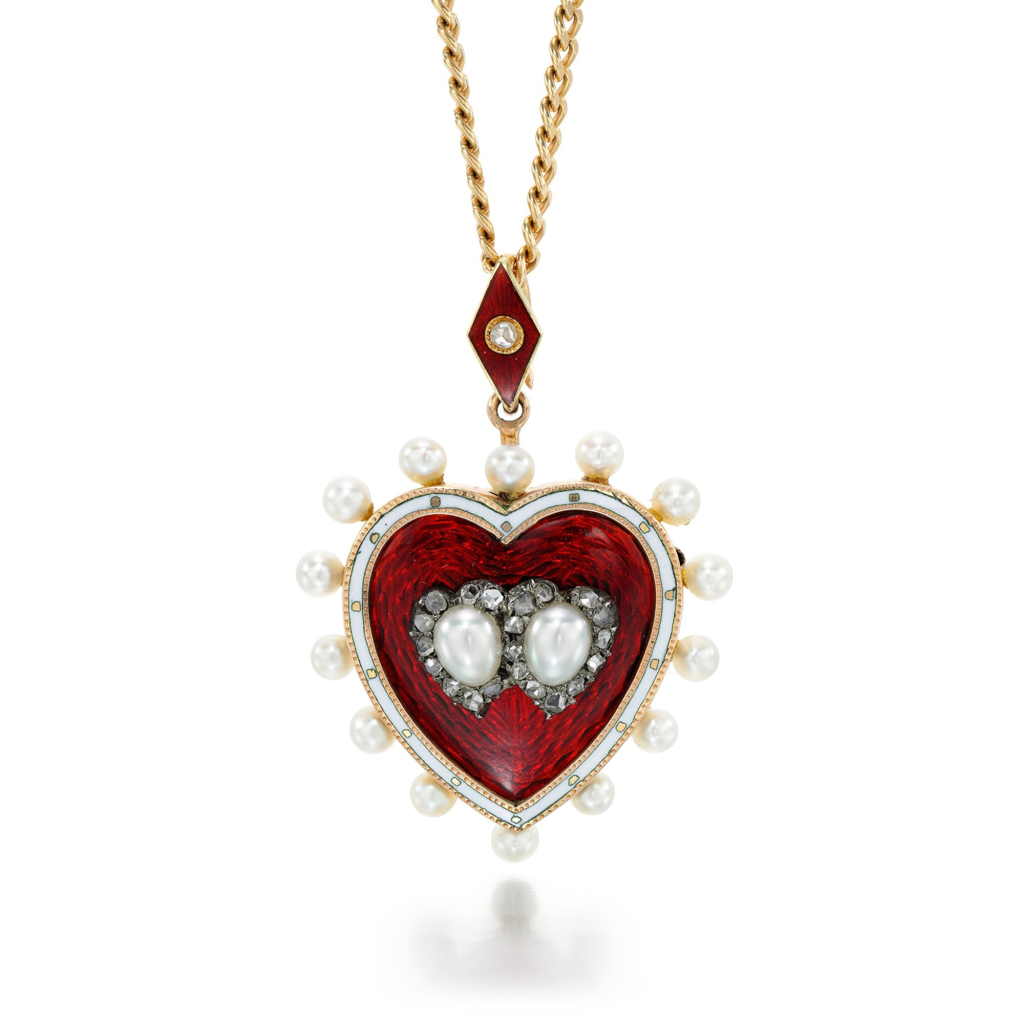 View full screen - View 1 of Lot 60. ENAMEL AND DIAMOND PENDANT NECKLACE.