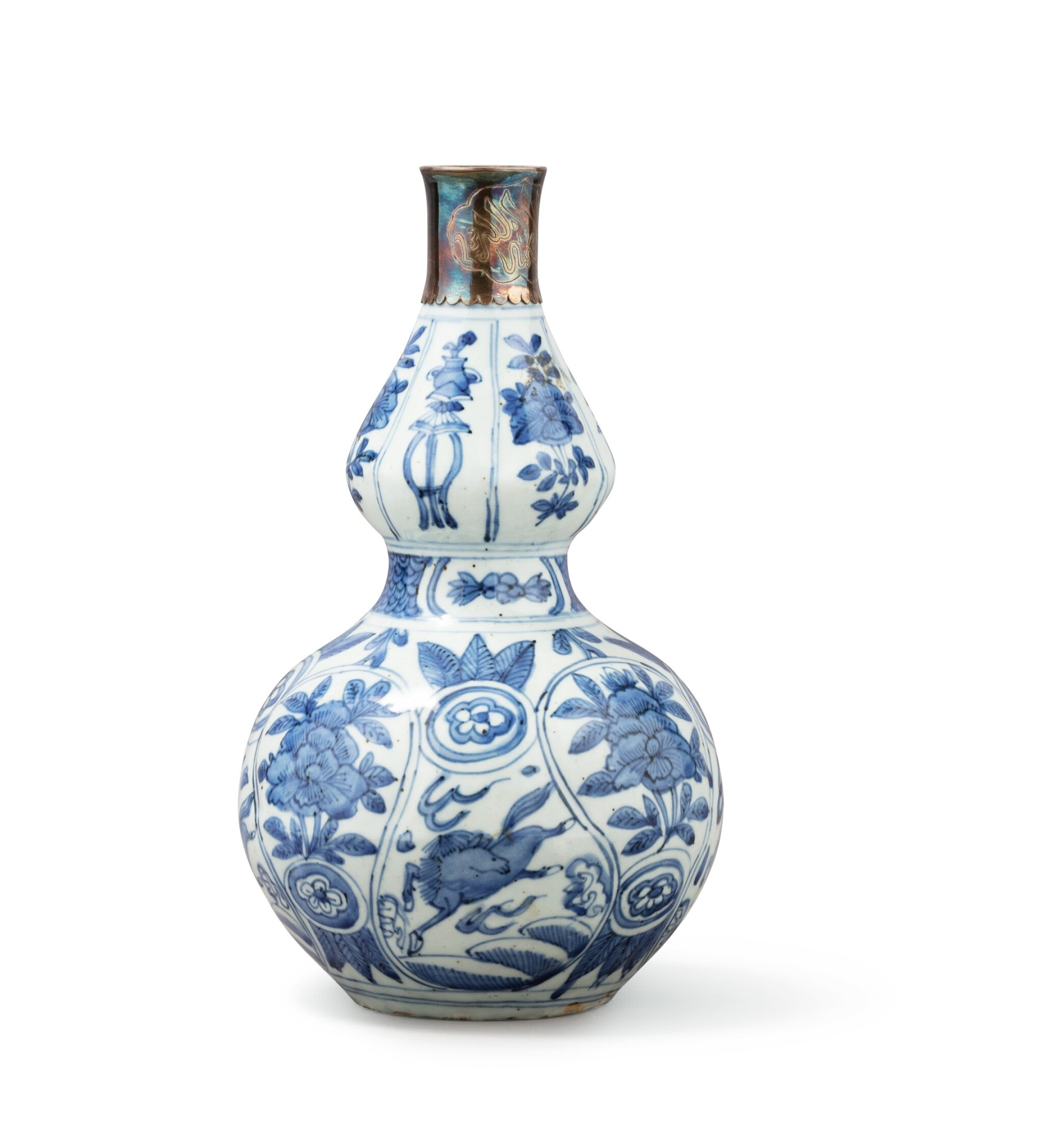 View full screen - View 1 of Lot 376. A blue and white double gourd vase and two water sprinklers, China, Qing Dynasty, 17th-18th century.