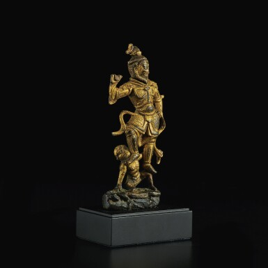 View 2. Thumbnail of Lot 599. A SMALL GILT-BRONZE FIGURE OF A GUARDIAN,  TANG DYNASTY.