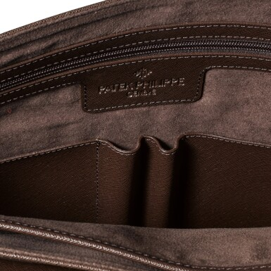 View 4. Thumbnail of Lot 722. BROWN FAUX LEATHER MESSENGER BAG.