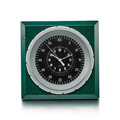 View 1. Thumbnail of Lot 8089. PATEK PHILIPPE FOR ROLEX | A GREEN PAINTED METAL ELECTRIC DESK CLOCK, CIRCA 1970.
