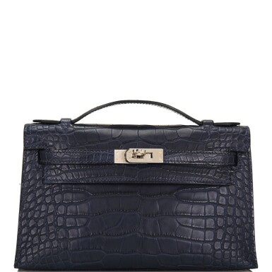 View 1. Thumbnail of Lot 44. Hermès Mini Kelly Pochette of Bleu Indigo Matte Mississippiensis Alligator with Palladium Hardware.
