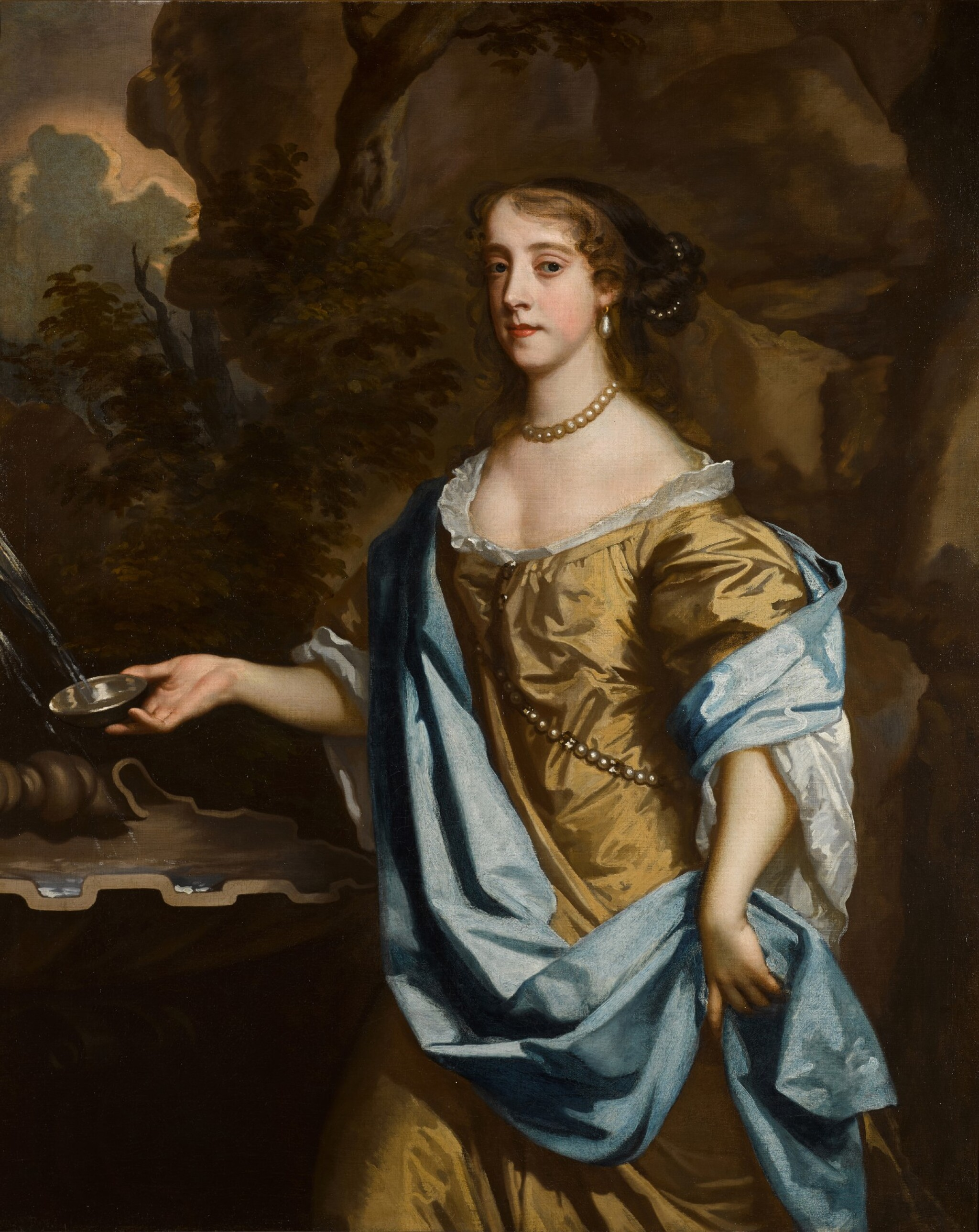 View 1 of Lot 143. Portrait of a lady by a fountain.