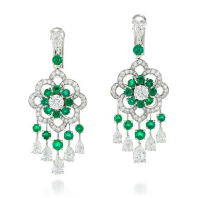 View 1. Thumbnail of Lot 32.  GRAFF | PAIR OF EMERALD AND DIAMOND EARRINGS.