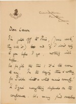 LAWRENCE | Autograph letter signed, to Leeson, on the Paris Peace Conference, January 1919