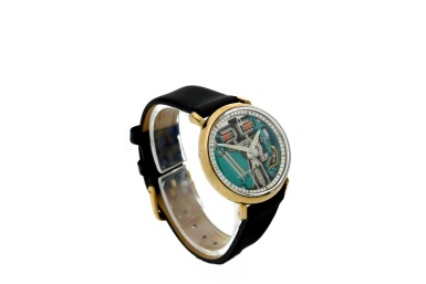 View 3. Thumbnail of Lot 72. BULOVA | ACCUTRON SPACEVIEW A STAINLESS STEEL AND GOLD PLATED ELECTRONIC WRISTWATCH, CIRCA 1960.