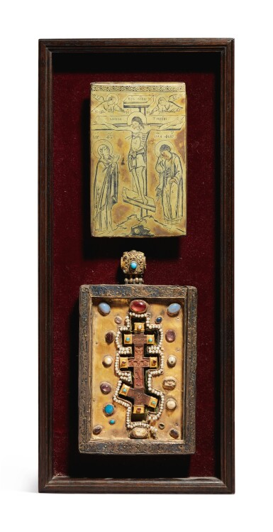 View 1. Thumbnail of Lot 803. Plaques with the Crucifixion and a Cross from Mt. Athos.